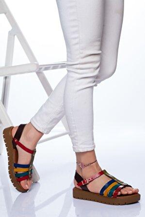 Ayakkabı Frekansı Alya Hakiki Deri Sandalet Mix