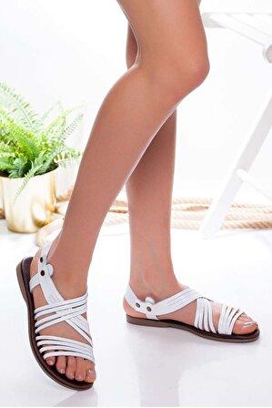 Ayakkabı Frekansı Adie Hakiki Deri Sandalet BEYAZ