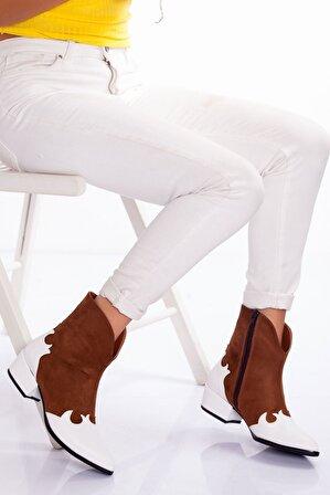 Ayakkabı Frekansı Kadın Beyaz Graz Bot Taba