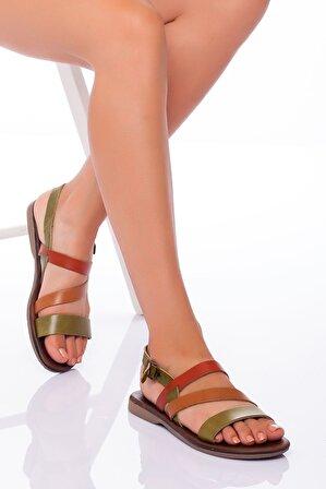Ayakkabı Frekansı Heidi Hakiki Deri Sandalet MİX