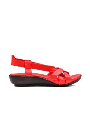 derinet Günlük Kırmızı Hakiki Deri Çapraz Bantlı Kadın Sandalet
