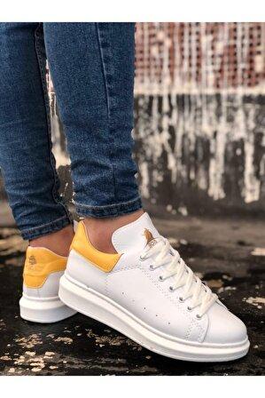 8stil Er0501 Bağcıklı Beyaz Sarı Rahat Yüksek Taban Unisex Ayakkabı