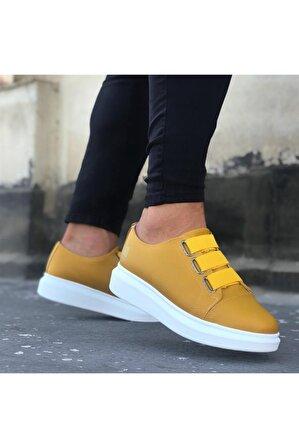 8stil Er0026 3 Bant Sarı Beyaz Yüksek Taban Casual Erkek Ayakkabı
