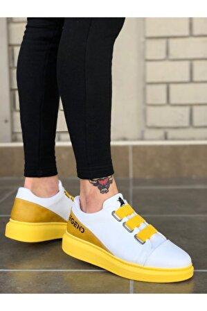 8stil Üç Bant Legend Beyaz Sarı Kalın Taban Casual Erkek Ayakkabı Er0029