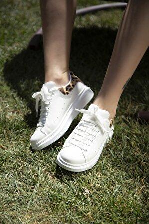 S1441 Beyaz-Leopar Kadın Casual Ayakkabı