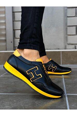 8stil Erkek Bağcıklı Siyah Sarı Sneaker
