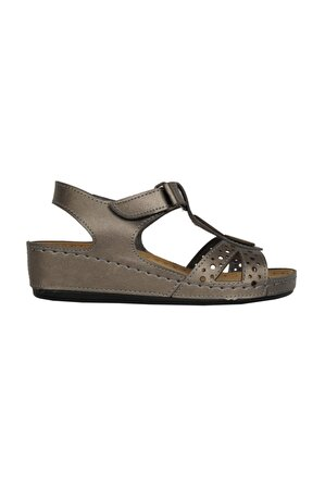 Nstep 09268ZN Platin Ortopedik Yazlık Günlük Sandalet Ayakkabı