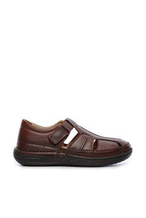 KEMAL TANCA Hakiki Deri Kahverengi Erkek Sandalet Ayakkabı
