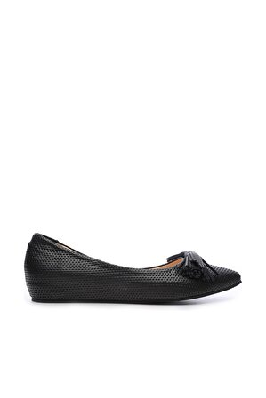 KEMAL TANCA Hakiki Deri Siyah Kadın Babet Ayakkabı