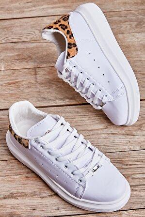 Bambi Beyaz/Leopar Tay Kadın Sneaker 09