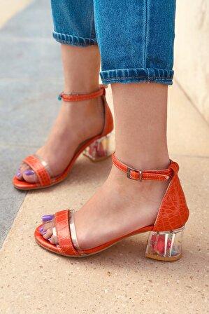 LAMİNTA Flower Turuncu Kroko Şeffaf Kadın Topuklu Ayakkabı