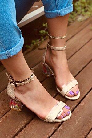 LAMİNTA Flower Bej Kroko Şeffaf Kadın Topuklu Ayakkabı