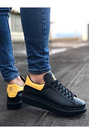 8stil Er0501 Bağcıklı Siyah Sarı Rahat Yüksek Taban Unisex Ayakkabı
