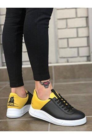 8stil Sneakers Siyah Sarı Beyaz Taban Casual Erkek Ayakkabı Er0031