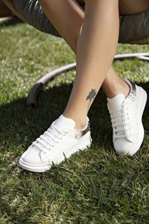 S1441 Beyaz-Yılan Kadın Casual Ayakkabı
