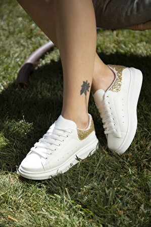 S1441 Beyaz-altın Kadın Sneaker