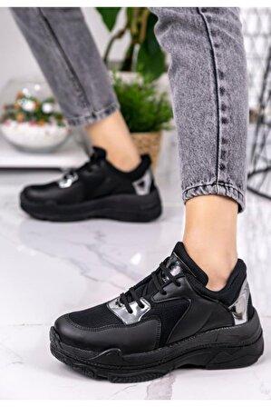 Erbilden Kadın Siyah Cilt Platin Rugan Detaylı Spor Ayakkabı