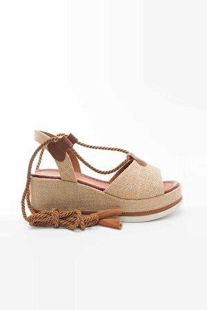 shoesboxs Kadın Krem Dolgu Topuklu Hasır Sandalet – Punco