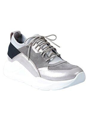 Dr.Flexer 962202 Hakiki Deri Kadın Comfort Ayakkabı Gri Garni