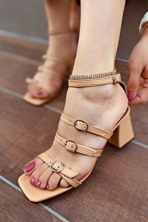 LAMİNTA Kadın Nude Renk Pamela Kemerli Kadın Topuklu Ayakkabı