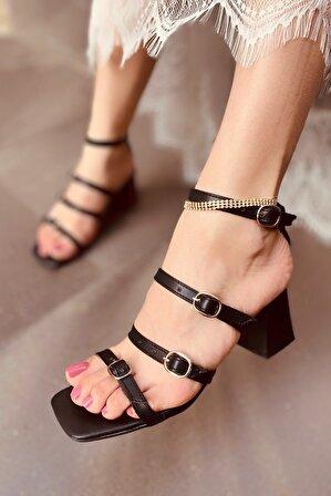 LAMİNTA kadın Siyah Pamela Kemerli Kadın Topuklu Ayakkabı