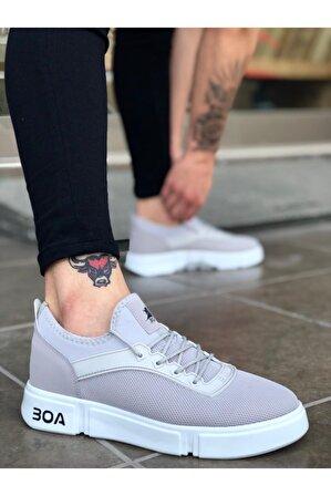 OtikButik Er0098 Erb Bağcıklı Rahat Yüksek Taban Gri Beyaz Sneakers Spor Ayakkabı