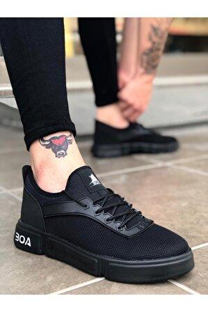 OtikButik Er0098 Erb Bağcıklı Rahat Yüksek Taban Siyah Sneakers Spor Ayakkabı
