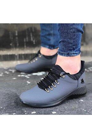 OtikButik Er0601 Bağcıklı Rahat Yüksek Taban Füme Siyah Casual Erkek Spor Ayakkabı