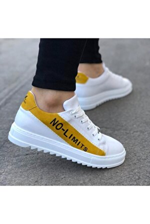 OtikButik Er0027 No Limits Beyaz Sarı Bağcıklı Casual Erkek Spor Ayakkabı