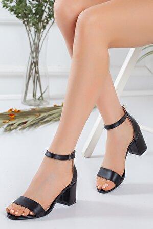 pabucmarketi Tek Bant Siyah Cilt Kadın Ayakkabı