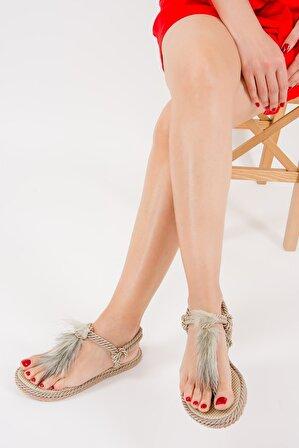 meyra moda Vizon Tüylü Halat Sandalet