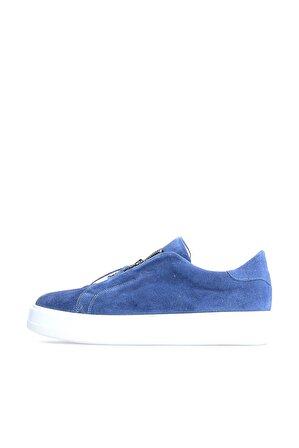 Flower Mavi Süet Fermuarlı Erkek Sneakers