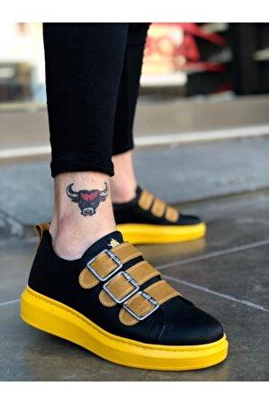 BOA Ba0137 Siyah Sarı Tokalı Kalın Taban Erkek Ayakkabısı