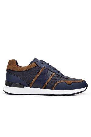Nevzat Onay Hakiki Deri Lacivert Sneaker Erkek Ayakkabı -11715-
