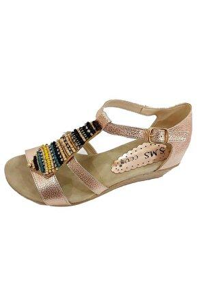SMS Kadın Bronz Trend Fashion Taşlı Sandalet 1516