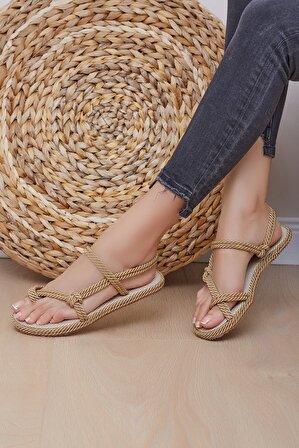 Shoes Time Kadın Gold Sandalet 20y 914