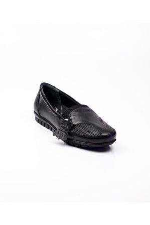 Polaris 101003 Siyah Deri Beş Nokta Kadın Ayakkabı Siyah-38