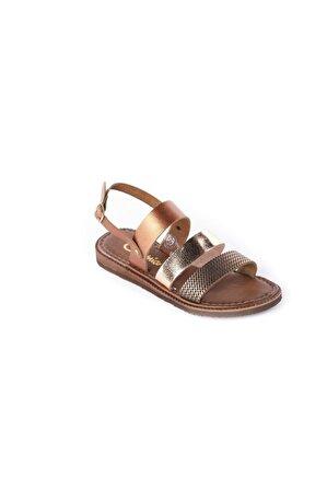 Charmia Kadın Bakır Hakiki Deri Günlük Sandalet Ayakkabı