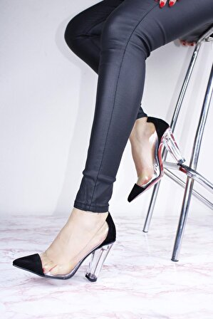 ByErz Kadın Cam Ökçeli Şeffaf Ayakkabı