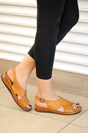 Tekin Ayakkabı Kadın Taba Deri Sandalet
