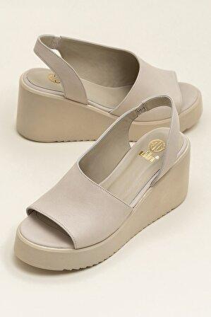 Elle Shoes SANDE Ecru Sandalet
