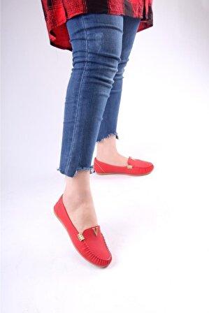 MODA GUNEŞ Babet – A564 V Kırmızı Nubuk Ayakkabı