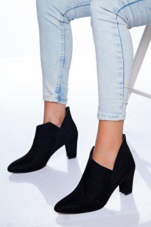 Ayakkabı Frekansı Kadın Siyah Süet Ayakkabı