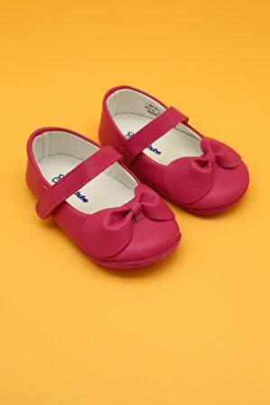 Db Kids Hakiki Deri Kız Bebek Babet Ilk Adım Ayakkabısı Fuşya
