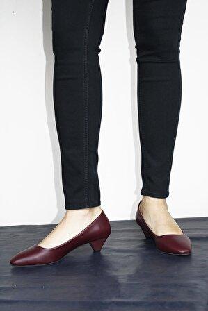 ByErz Bordo Cilt Kadın Ayakkabı