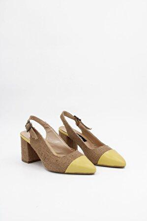 ByErz Kadın Sarı Topuklu Ayakkabı Brlerz00017