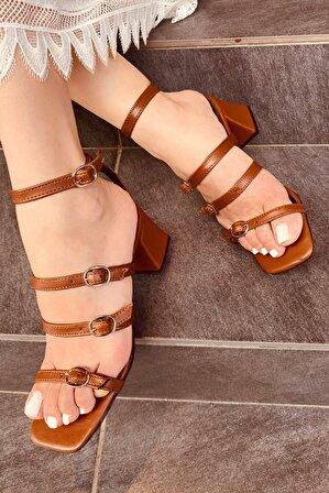 LAMİNTA Kadın Taba Pamela Kemerli Topuklu Ayakkabı