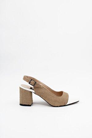 ByErz Kadın Beyaz Topuklu Ayakkabı