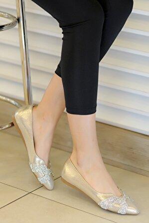 Tekin Ayakkabı Kadın Altın Babet Ayakkabı