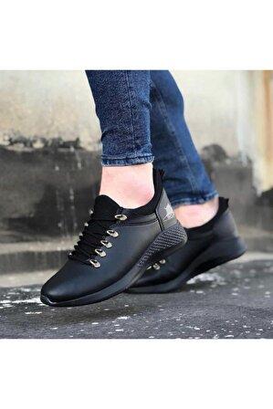 OtikButik Er0601 Bağcıklı Rahat Yüksek Taban Siyah Casual Erkek Spor Ayakkabı
